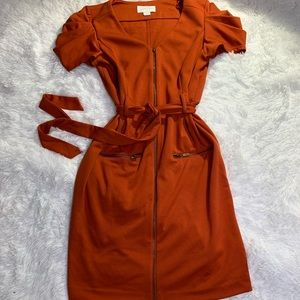 Jessica Simpson burnt orange dress